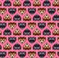 Raccoon and bear-cat heart pattern