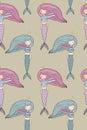Pattern with cute little mermaid. Siren. Sea theme.