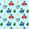 Pattern of cute penguins in sweaters and hats