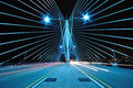 Pattern and Design of Bridge with car light trails Royalty Free Stock Photo