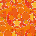 Pattern with different color and size circles and stars