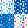 Pattern with different color snowflakes Stock Images