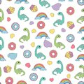 Pattern with dinosaurs and food