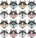 stock image of  Pattern of dogs with bones and paws. Seamless Haski, Labrador, Chihuahua, Pug, Dalmatian.