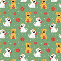 Pattern with dogs and Christmas balls.