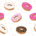 Pattern with donuts seamless different Royalty Free Stock Photography