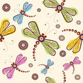 Pattern with dragonfly and flower Stock Photos
