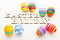 Pattern easter egg with wooden text Stock Photography