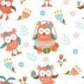 Pattern with easter owls cute seamless Royalty Free Stock Photography