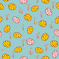 Pattern with eggs vector seamless netting Stock Photos