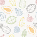 Pattern of exotic fruits. On a light background.