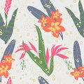 Pattern with exotic plants