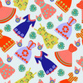 Pattern of Fashion collection summer lady colorful dresses Royalty Free Stock Photo