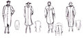 Pattern of female demi season coat sketch fashion model Stock Photos