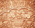 Pattern of flower carved on wood Royalty Free Stock Photo