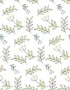 Seamless pattern of flowers and leaves