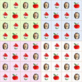 Pattern fly agaric, hedgehog and apple Royalty Free Stock Photo