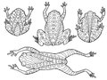 Pattern frog abstract graphic doodle black white illustration