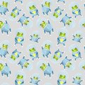 Pattern with frog astronaut