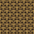 Pattern with gold flower on black background