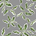 stock image of  Pattern of green leaves on a gray background, watercolor style.