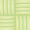 Pattern with green squares and decorations interlocking abstract Stock Photos