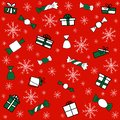 Pattern with green and white gift boxes, white snowflakes and sweets on red background. Vector pattern for Christmas, New Year`s Royalty Free Stock Photo