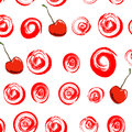 Pattern with grunge circles and cherries