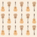Pattern guitars patron of classical in two colors Stock Photos