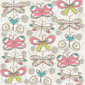 Pattern of hand draw  butterflies, vector Stock Images