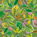 Pattern of hand draw  leafs Stock Photos