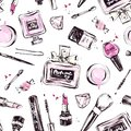 stock image of  Pattern with hand drawn cosmetics.