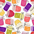 Pattern of hand drawn jars with home-made jams.
