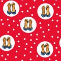 Cute red pattern with white dots and stiletto heel shoes