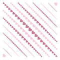 Pattern with hearts background diagonal stripes Stock Images