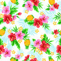Pattern of the hibiscus i drew for a design this painting continues repeatedly Stock Images