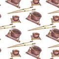 stock image of  Pattern with teacups and chopsticks