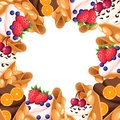 Pattern of Hong Kong waffle with cherry strawberry orange and whipped or chocolate cream egg waffle dessert vector illustration is