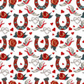 Pattern with horseshoe with floral ornament seamless rose swallow and hearts Royalty Free Stock Images