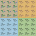 Pattern hummingbird seamless background featuring hummingbirds with color options Royalty Free Stock Image