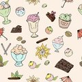 Pattern of ice cream, chocolate, nuts, vanilla and cinnamon on a light background