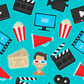 Pattern icons set cinema illustration format eps Stock Image