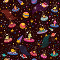 Pattern illustration cute aliens Stock Photos