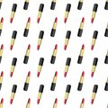 Pattern illustration with red lipstick in gold and black boxing on a white background