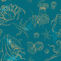 Pattern with invertebrates organisms seamless vector oceanic Stock Image