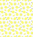 Pattern with lemons. Vector seamless background. Royalty Free Stock Photo
