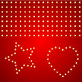 Pattern of light bulbs star and heart on red background Stock Photography