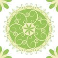 Pattern in a light green circle for textile design