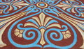 Pattern made with colored soils for corpus christi tenerife canary islands spain elaborate in blue brown yellow and white to Royalty Free Stock Photo