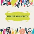 Pattern makeup and beauty cosmetic symbols frame illustration Royalty Free Stock Photo